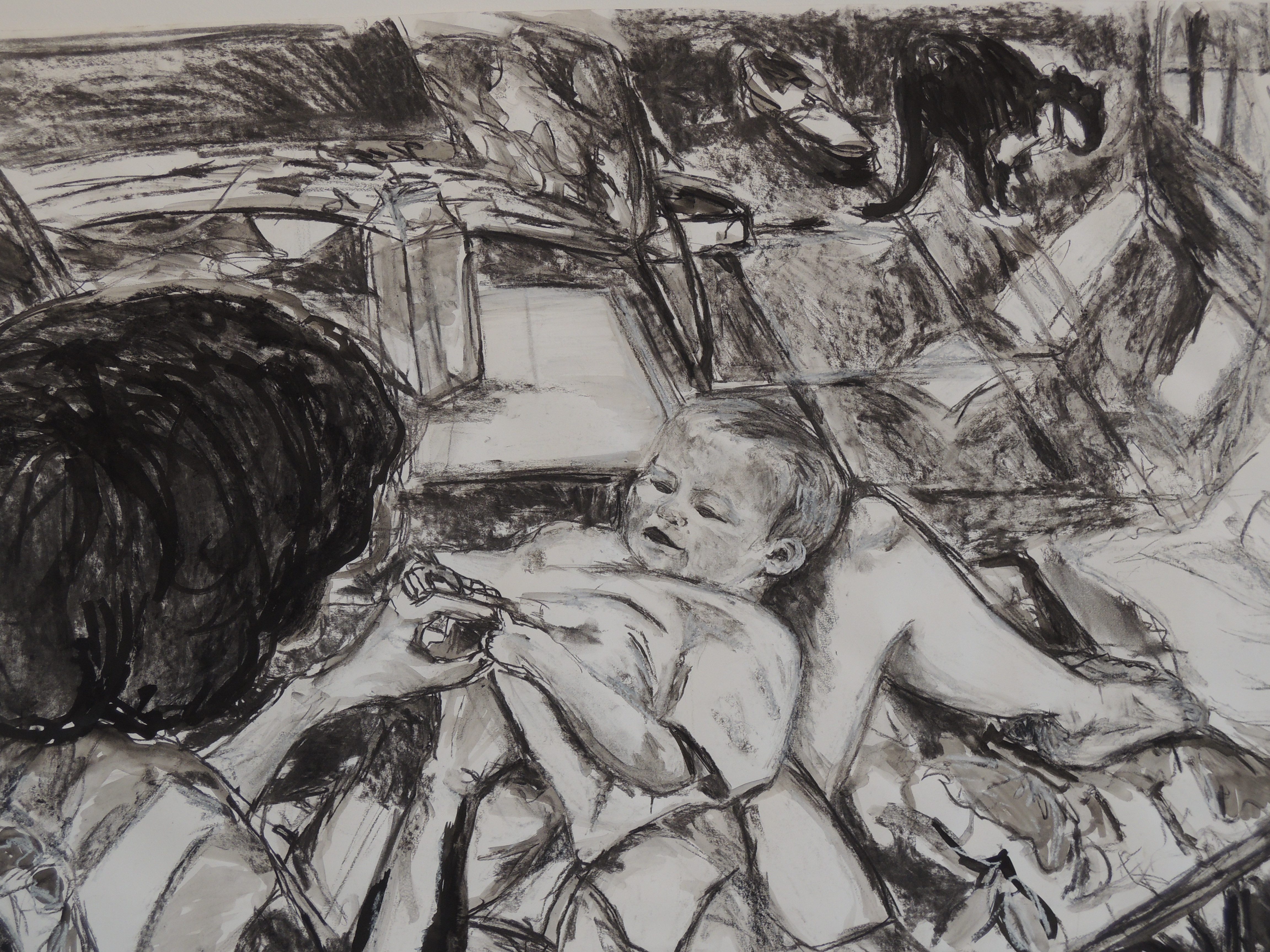The Embracement, 100 x 70 cm, charcoal, white pastel and ink on paper, 2013